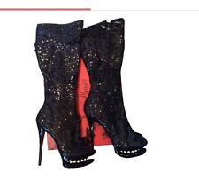 Sequin Platform Pleaser Boots Size 8
