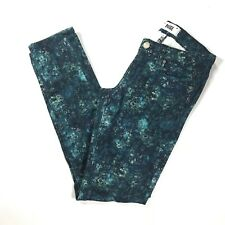 PAIGE Jeans Womens sz 24 x 29 Skyline Ankle Peg Skinny Blue Green Floral Stretch