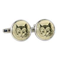 Vintage Style Cheshire Cat Cufflinks alice tenniel book illustration NEW BNIB