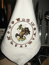WESTERN TABLE NAPKINS BRONC RIDER EMBROIDERED BRANDED DESIGN 20X20 100% COTTON
