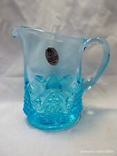 Fenton Blue Topaz Button and Arch Pitcher 1962 SY