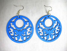 NEW BRIGHT BLUE WOOD SCROLLING BUTTERFLY CUT OUTS NATURE GIRL DANGLING EARRINGS