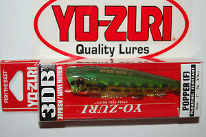 "yo zuri 3db 3d prism wave motion popper bass topwater 3"" 3/8oz frog r1101-pf"