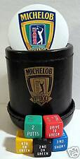 Michelob Beer PGA  Pin + Leather Dice Cup / Golf Game