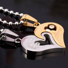 2 Pendant + 2 Woman Man Chain Steel 18K Gold 18K Heart I Love You New