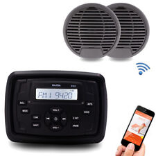 Bluetooth Marine Stereo Boat Motorcycle Receiver RV Car Sound System+ Speakers