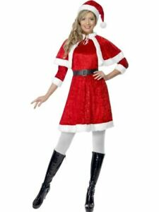 Womens Miss Santa Costume Christmas Xmas Ladies Fancy Dress Party Outfit