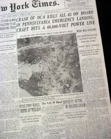 UA FLIGHT 624 Mt. Carmel PA Pennsylvania Airplane Crash Disaster 1948 Newspaper