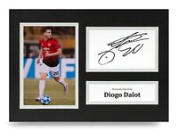 Diogo Dalot Signed A4 Photo Display Manchester United Autograph Memorabilia COA