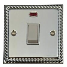 G&H MC26W Monarch Roped Polished Chrome 1 Gang 20 Amp Double Pole Switch & Neon