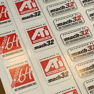 ATI MACH 32 64 Vintage Retro Computer Case Badge 386 486 Pentium PC ISA Sticker