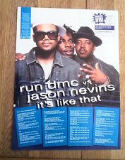RUN DMC 'Jason Nevins' lyrics magazine PHOTO/Poster/clipping 11x8 inches