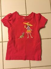 Gymboree size 3 Girls Dark Pink Cap Sleeve Top Shirt w/applique -EUC