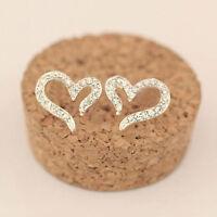 925 Sterling Silver Crystal Rhinestone Heart Ear Stud Earrings Women New