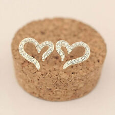925 Sterling Silver Crystal Rhinestone Heart Ear Stud Earrings Women New