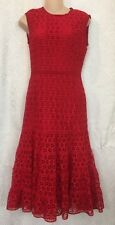 Giambattista  Valli Dress Red Sleeve Less Embroidered  Size 2size  38 XS NWT