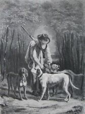 The old hunter and his dogs.....wood engraving...1870s