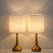 Set of 2 Table Lamps Nightstand Mental Base Lamp  Fabric...