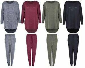 Womens Ladies Baggy Two Piece Casual Loungewear Sweatshirt Joggers Tracksuit Set