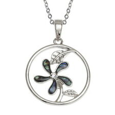 Blue Green Abalone / Paua Shell Round Flower Pendant Silver Chain Necklace