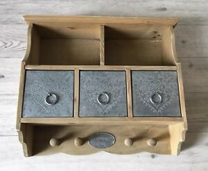 Vintage Style, Rustic, Wall Hanging, French Country Style Shelf With 3 Drawers