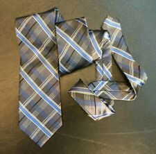 Vintage Pronto Uomo Necktie Tie Gun Metal Gray Blue Black Plaid Hand Made Silk