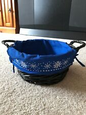 """Christmas Blue Snowflakes Basket Liner with Ties Black Basket Holiday Round 9"""""""