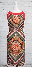 Per Una M&S Red Dress Size 14 Tile Print Ethnic Boho Belt