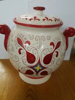 Handmade for Nonni's Red & White Ceramic BISCOTTI Cookie Jar with Scroll Handles