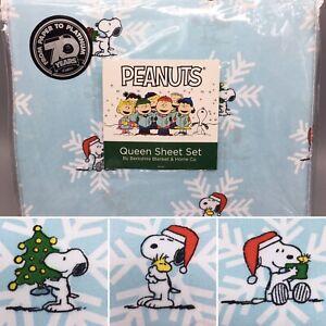 4pc Berkshire Peanuts Christmas Snoopy QUEEN Sheet Set Snowflake Santa Hat Blue