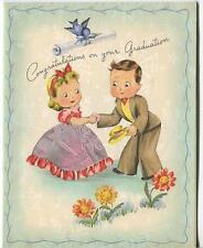 VINTAGE SMILING FLOWER DAISIES FACES BLUE BIRD CUTE GIRL BOY GRADUATION DAY CARD