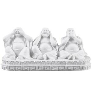 See, Speak, Hear No Evil Buddha's, White Ornament