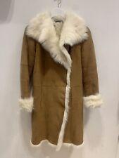Joseph Womens Tan & Cream Shearling Coat Size 34 #117.2027 A