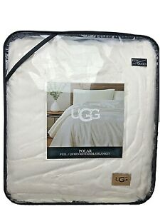 UGG Polar Rabbit Faux Fur Reversible Blanket/ Large Throw Queen Snow White $150