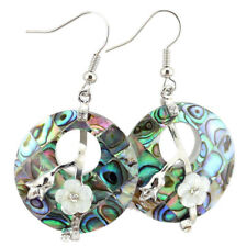 Top Qulaity Natural Abalone Shell Flower Carved Shell Gem Silver Dangle Earrings