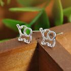 Cute Womens Girls Flower Triangle Silver Plated Ear Stud Charm Earrings Jewelry