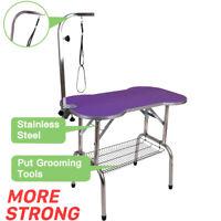"38"" Heavy Duty Pet Professional Dog Bone Pattern Foldable Grooming Table Purple"