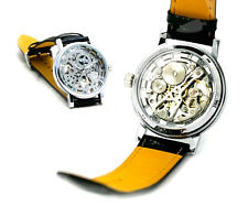 Automatic Mechanical Skeleton Mens Gentleman Sport Leather Wrist Watch Gift