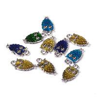 Mixed Enamel Owl Charms Alloy Pendants Craft Nekclace Jewelry Making SilverMetal
