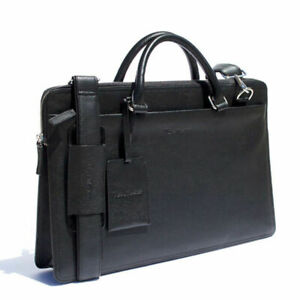 Rich Mbariket Men's Black Genuine Pebble Leather Briefcase with ID Luggage Tag