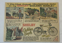 1955 SHELBY bicycle cartoon ad ~ YELLOWSTONE PARK ~ Golden Eagle