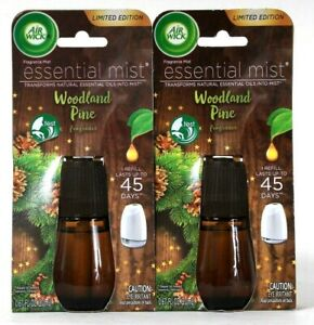 2 Count Air Wick 0.67 Oz Essential Mist Woodland Pine 45 Days Fragrance Refill