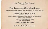 Vintage Ephemera 1938 Wichita KS Free Lecture on Christian Science Flyer