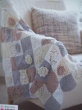 GRANNY SQUARE BLANKET THROW CROCHET PATTERN  95 cm x 73 cm cotton DK