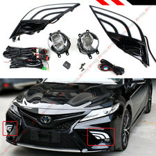 FOR 18-19 TOYOTA CAMRY SE XSE FOG LAMP LIGHT + WHITE & AMBER LED DRL BEZEL COVER