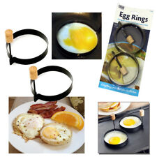 2pcs Egg Rings Perfect Round Pancake Non Stick With Wood Handle Cooking Ring