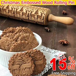 Christmas Flower Wooden Rolling Pin Embossing Baking Cookies Biscuit roiling pin