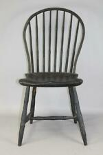 A RARE 18TH C BOWBACK WINDSOR CHAIR CHARLESTON, MA OLD BLACK OVER ORIGINAL CORAL