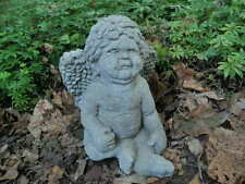 """Vintage 9"""" Tall Cement Putto Angel Cherub Boy Weathered Garden Concrete Statue"""