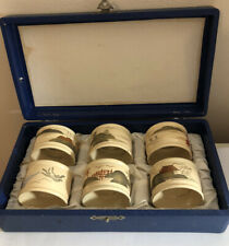 More details for vintage papier mache hand painted japanese napkin rings, boxed